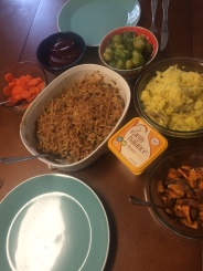 Green bean casserole, agave carrots, brussel sprouts