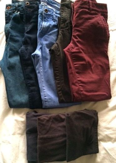 3 pairs of jeans, two pairs of dress pants, 3 pairs of leggings