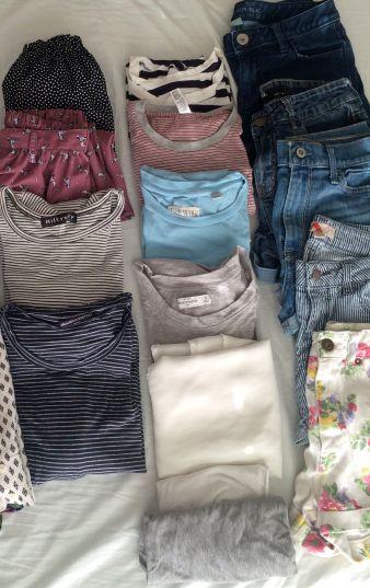 2 skirts, 7 tops, 5 pairs of shorts